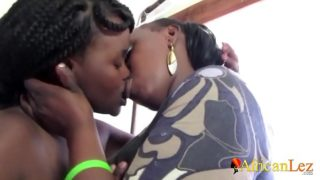 Busty Black Mother Fingers Stepdaughter to Orgasm