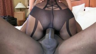 Big Black Cock Expand Out Cunt Cowgirl Style Super Sexy Brunette Wife in Black Lingerie