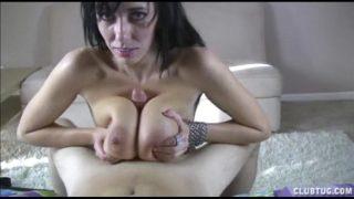 Bigtitted Brunette Tit-fucks a Dick