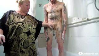Blonde Mom Jerks & Sucks Off Her Son