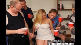 Chubby Blond Cum Swallower Bukkake Group Sex