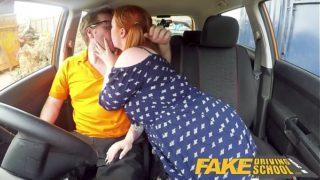Fake Driving School Voluptuous Red Head Fucks in Van