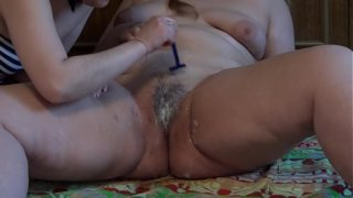 Lesbian Shaves Her Girlfriend's Fat Pussy and Licks Hairy and Shaved Cunt. Fetish.