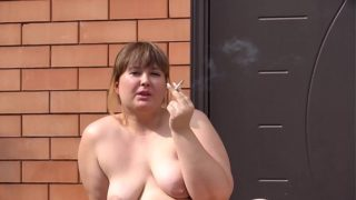 Naked Chubby With BBW Cunt Smokes Outdoors and on Home. Amateur Kink and Close-up Face.
