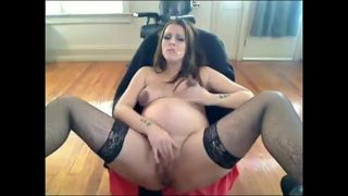 Smoking Pregnant Woman Talks Nasty and Masturbates