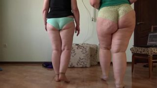 Two Mature Bbws With Juicy Pawg Do Household Fitness and Gradually Undress. Shows Plump Legs in Socks and Hairy Pussy. Amateur Fetish and Foot Fetish.