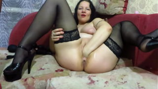 Vaginal Fisting, Huge Sex Toys, and an Apple Expand Milf Vagina to Gaping Hole. Busty Milf Masturbates Near the Christmas Tree. Homemade Fetish.
