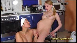Busty Lesbian Pregnant Teen Kiss