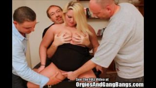 Chubby Bitch Surrounded By Squirting Dicks